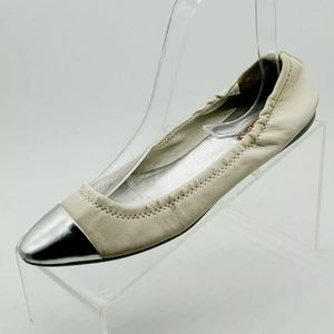 Prada White Silver tip Leather Ballerina Flats 35